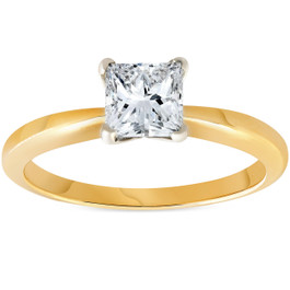 1ct Princess Cut Diamond Solitaire 14k Yellow Gold Engagement Ring (H/I, SI(1)-SI(2))