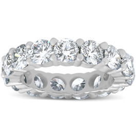 5 Ct Lab Grown Created Diamond Eternity Ring Womens Wedding Band 14K White Gold (F, VS(1)-VS(2))