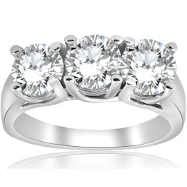 1ct Three Stone Diamond Engagement Ring 14k White Gold ((G-H), SI(1)-SI(2))