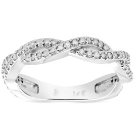 1/3ct Diamond Vine Wedding Stackable Ring in 10k White Gold (H/I, I1-I2)