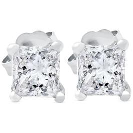.65 ct Princess Cut Diamond Studs 14k White Gold Enhanced ((G-H), SI(1)-SI(2))