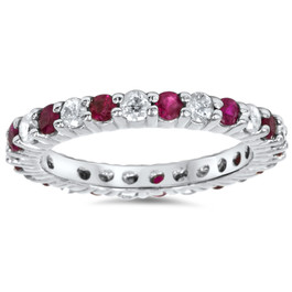 1 1/2ct Garnet Diamond Eternity Ring 14k White Gold