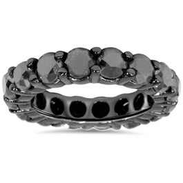 5ct Black Diamond Eternity Ring 14K Black Gold (Black, )