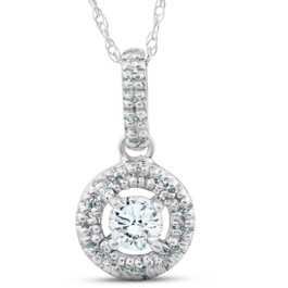 14K 1/3ct Floating Solitaire Pave Round Diamond Pendant (H/I, I2)