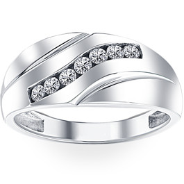 Mens 1/3ct Diamond Wedding Ring 10k White Gold Anniversary Band (H/I, I1-I2)