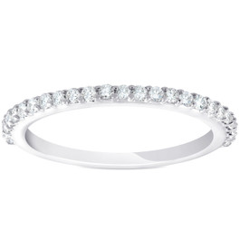 1/4ct Diamond Wedding Ring 14k White Gold Stackable Womens Anniversary Band (H/I, I1-I2)