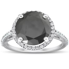 3 1/3 Ct Black Diamond Halo Engagement Ring 14k White Gold (H, I1-I2)