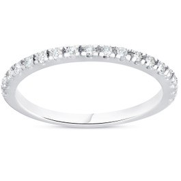 1/4ct Diamond Ring Stackable Engagement Womens Wedding Band 10K White Gold (H/I, I1-I2)
