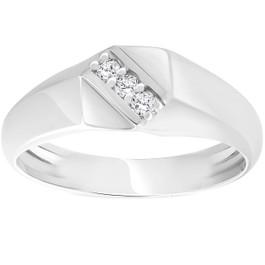 Mens 1/10ct White Gold Diamond Flat Classic Anniversary Band 10K (H/I, I1-I2)