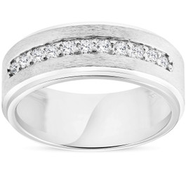 Mens 3/8ct White Gold Diamond 10k Brushed Wedding 8MM Anniversary Band (H/I, I1-I2)