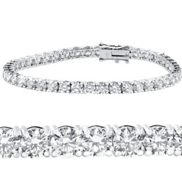 "10 ct Diamond Tennis Bracelet 14k White Gold 7"" Double Lock Clasp (G-H, I1)"