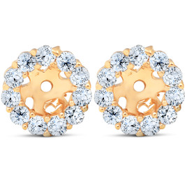 Halo Diamond Earring Jackets 14K Yellow Gold (4mm) (H-I, I3)