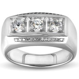 1ct Diamond Mens Three Stone Wedding Anniversary Ring 10k White Gold (H/I, I1-I2)