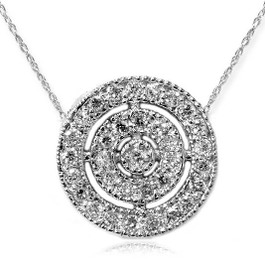 VS 3/8ct Pave Halo Diamond Circle Pendant 14K White Gold (G-H, VS)