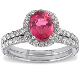 2.28ct Pink Tourmaline Oval Halo Diamond Engagement Wedding Ring 18k White Gold (F, VS)