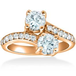 1 1/2 cttw Forever Us 2-Stone Diamond Engagement Forever Us Ring 14k Rose Gold (G/H, I1-I2)