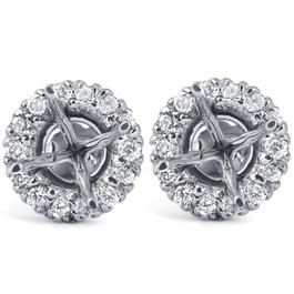 5/8ct Diamond Halo Studs Mounting Fits 5.5-6.5mm Round Stones 14k White Gold ((G-H), SI)