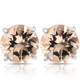 Morganite Studs available in 14K White or Yellow Gold 6MM