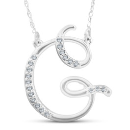 "1/4ct Diamond ""G"" Initial Pendant 18"" Necklace 14K White Gold (G/H, I2)"