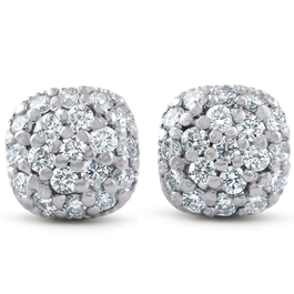 1/2ct Pave Diamond Cushion Studs 14k White Gold (H-I, I1-I2)