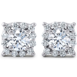 1 3/8ct Cushion Halo Diamond Studs 14K White Gold (J-K, I2-I3)
