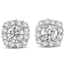 1 1/2ct Diamond Cushion Halo Studs 14k White Gold (J-K, I2-I3)
