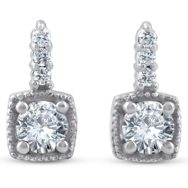 3/4ct Diamond Cushion Framed Drop Earrings 14k White Gold Petite 11mm Tall (J, I2-I3)