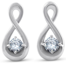 1/5ct Diamond Knot Studs Petite 14k White Gold (J-K, I2-I3)