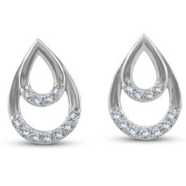 1/10ct Diamond Pear Shape Dangle Petite Earrings 14k White Gold (J-K, I2-I3)
