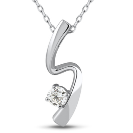 1/4ct Solitaire Diamond 14k White Gold Freeform Pendant & Chain Womens Jewelry (J-K, I2-I3)