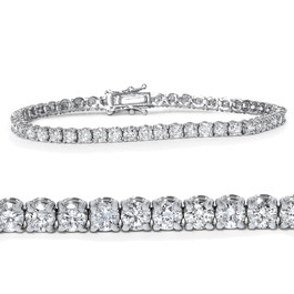 "18K White Gold 4 Ct Diamond Tennis Bracelet 7"" (G/H, I1-I2)"