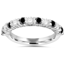 5/8CT Black & White Diamond Wedding Ring 14K White Gold (H/I, I1-I2)