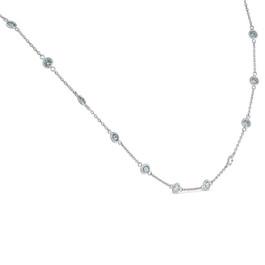 "1 3/4 Ctw Diamond Bezel Station Necklace 14K White Gold 18"" (G-H, SI)"