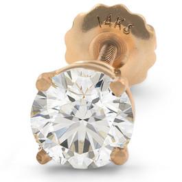 1 ct Single Diamond Stud Screw Back 14k Yellow Gold Enhanced (G, SI(1)-SI(2))