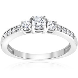 3/4ct Three Stone Round Diamond Engagement Ring 14K White Gold (I-J, I2-I3)