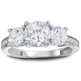 1 3/4ct Three Stone Round Diamond Engagement Ring 14K White Gold (H, SI2)