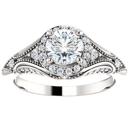 1ct Vintage Diamond Engagement Round Halo Ring 14k White Gold ((G-H), SI(1)-SI(2))