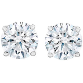 4.23 cttw Round Diamond Studs 14k White Gold (D, I2)