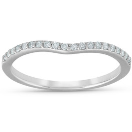 1/8cttw Diamond Curved Wedding Engagement Guard Enhancer Band 14k White Gold (G/H, I1-I2)