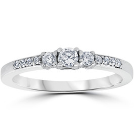1/3ct Three Stone Round Diamond Engagement Ring 14K White Gold (H, SI2)