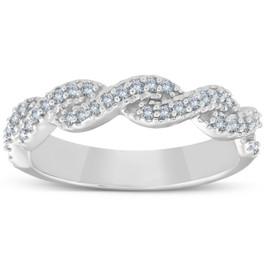 1/4ct Diamond Infinity Wedding Ring 14K White Gold (G, I2)