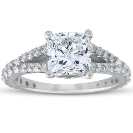 2 1/2ct Cushion Diamond Engagement Ring 14k White Gold ((G-H), SI(1)-SI(2))