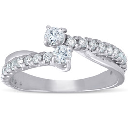1Ct Two Stone Diamond Engagement Forever Us Ring 14K White Gold Anniversary Band (G-H, I1-I2)