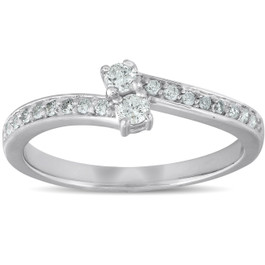 1/4 Ct Two Stone Diamond Engagement Forever Us Ring White Gold Anniversary Band (G/H, I1-I2)