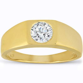 Mens 1 ct Round Solitaire Diamond Wedding Ring 14k Yellow Gold (G/H, SI1-SI2)
