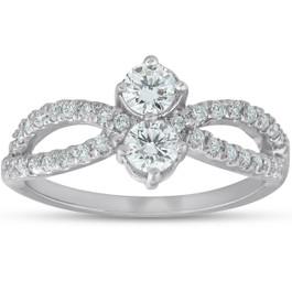 3/4 Ct Two Stone Diamond Engagement Forever Us Anniversary Ring 14k White Gold (G/H, I1-I2)