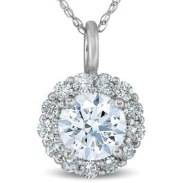 "1 Ct Halo Diamond Pendant Necklace 18"" 14k White Gold (G-H, I1)"