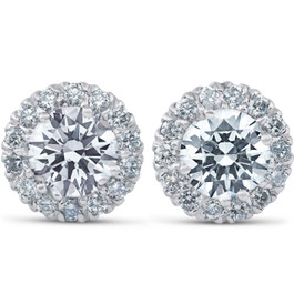 2 3/4 Ct Round Halo Diamond Studs 14k White Gold Enhanced 10.9mm (G-H, SI)