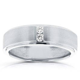 1/8 ct TDW Mens Brushed Diamond Wedding Ring 10k White Gold (G/H, I1-I2)
