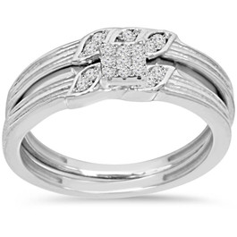 1/6ct Diamond Engagement Wedding Ring Set 10K White Gold (I/J, I2-I3)